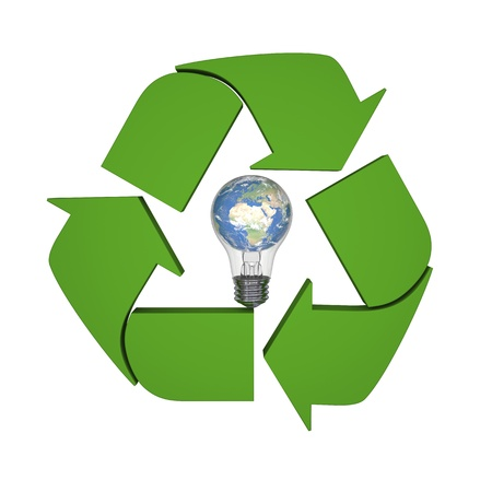 Lightbulb with planet Earth inside recycling symbol, concept of new ideas in environmental protection and conservation. Elements of this image furnished by NASA Stock Photo - 15307488