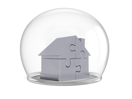 preservation: House made of silver puzzle pieces shielded by glass bowl, isolated on white background