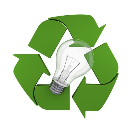 Lightbulb on recycling symbol, concept of new ideas in environmental protection and conservation Stock Photo - 15307487