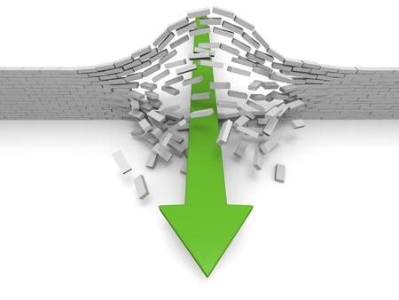 breaking through: Ilustraci�n de la flecha verde rompiendo la pared de ladrillo, el concepto de �xito, progreso, logros Foto de archivo