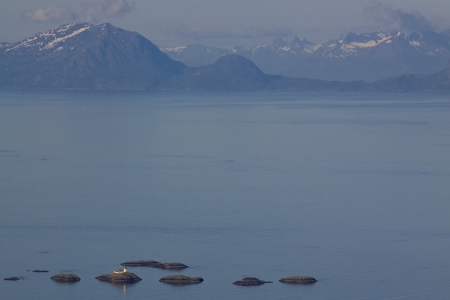 islets: Aerial view of Norwegian sea between Lofoften islands and norwegian mainland dotted with tiny rocky islets Stock Photo