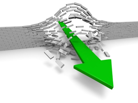 Illustration of green arrow breaking through brick wall, concept of success, breakthrough, achievement