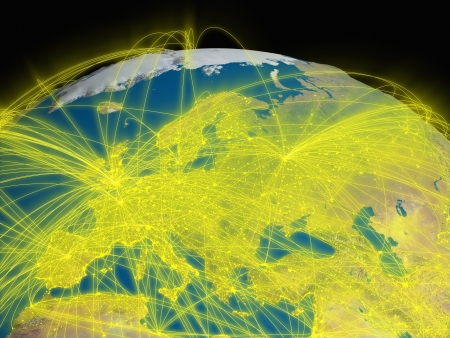 Illustration of Europe from space with glowing yellow connections between cities and continents representing global airline networks.   illustration