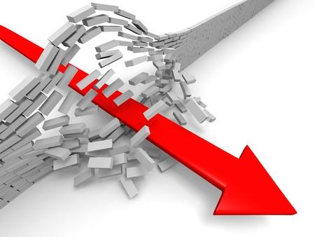 rompiendo: Ilustraci�n de la flecha roja rompiendo la pared de ladrillo, el concepto de �xito, progreso, logros Foto de archivo