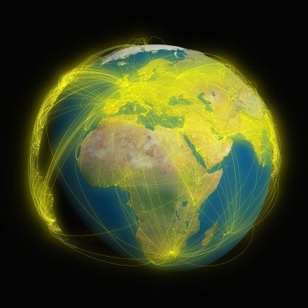 Planet Earth with glowing yellow connections between cities and continents representing global airline networks. photo