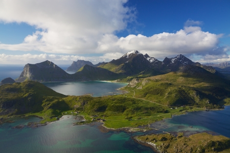 Scenic aerial view of dramatic coastline on Lofoten islands in Norway Archivio Fotografico