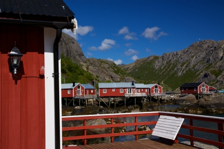 rorbu: Norwegian fishing village of Nusfjord on Lofoten islands