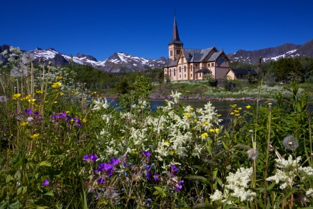 Scenic Lofoten cathedral, famous landmark on Lofoten islands in Norway during arctic summer Stock Photo