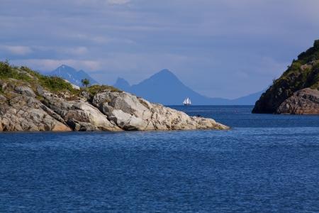 islets: Rocky islets in Norwegian sea near Lofoten islands Stock Photo