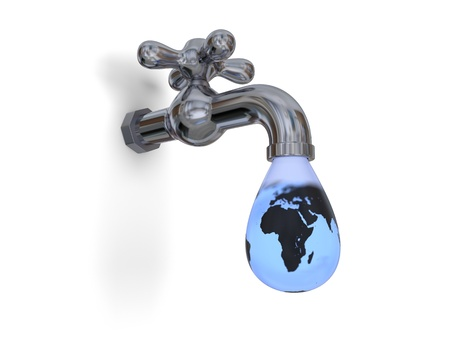Illustration of water tap dripping with large water drop and blue planet Earth inside isolated on white background