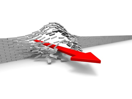 breaking: Illustration of red arrow breaking through brick wall, concept of success, breakthrough, achievement