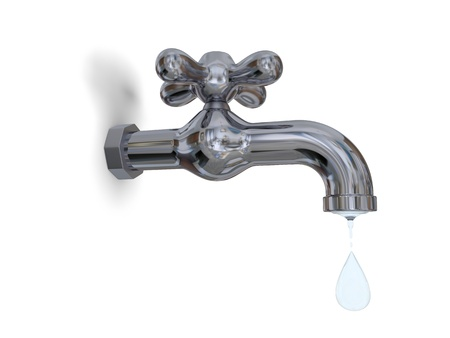 Illustration of water tap dripping with water drop isolated on white background illustration
