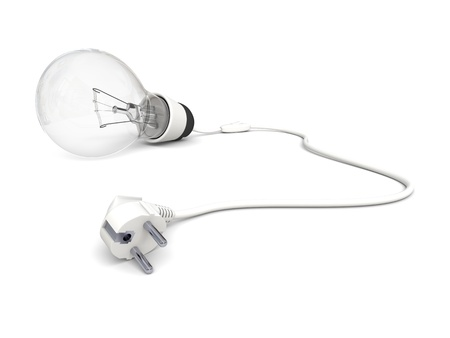 disconnected: Illustration of lightbulb with disconnected power cord isolated on white background Stock Photo
