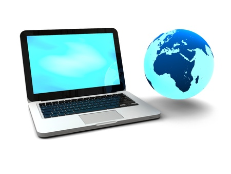 portability: Illustration of blue Earth floating next to laptop computer, concept of world wide web and portability, isolated on white background