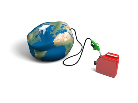 depletion: Concept of oil depletion with illustration of oil pump, pumping out oil from deflated Earth into jerry can
