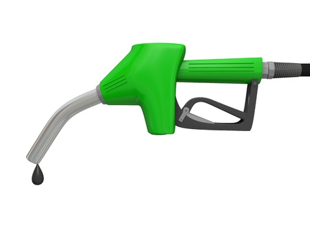 Illustration of green fuel pump nozzle with oil drop isolated on white background illustration