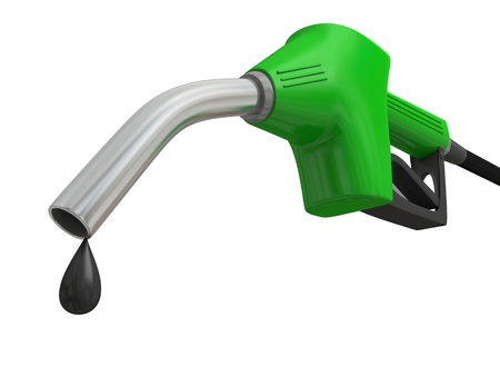 オイルと緑の燃料ポンプ ノズルのクローズ アップ イラスト ドロップに孤立した白い背景 写真素材