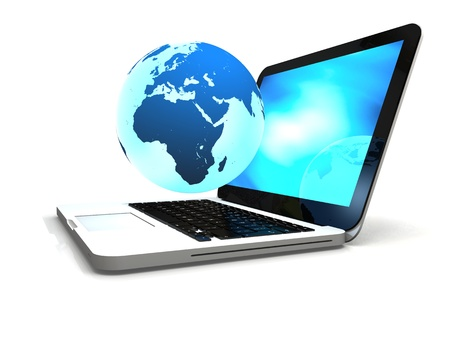 portability: Illustration of blue Earth floating above laptop computer, concept of world wide web and portability, isolated on white background.