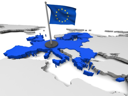 3D map of European Union with flag and EU countries highlighted in blue.  Stock Photo