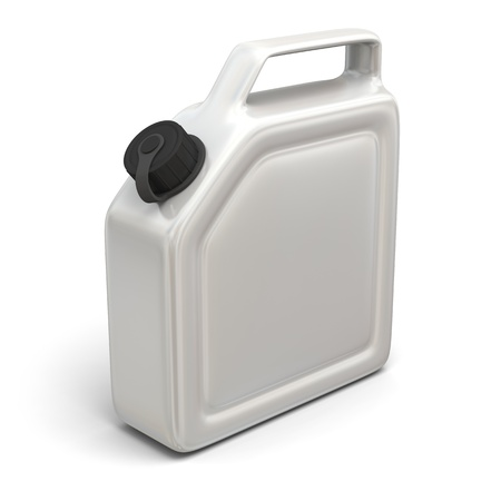 jerry: 3D illustration of white jerry can isolated on white background.