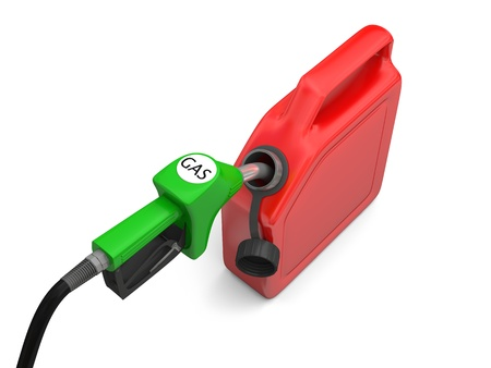 jerry: Illustration of green fuel pump nozzle and red jerry can isolated on white background Stock Photo