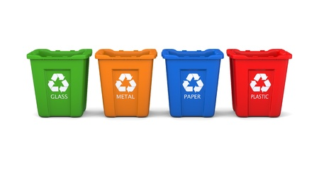 reusable: Set of four colored recycle bins isolated on white background