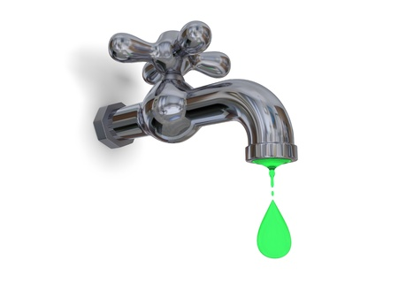environmental contamination: Illustration of water tap dripping green water isolated on white background, concept of environmental pollution and water contamination