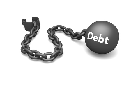 enslave: Prisoner shackle with word debt on the iron ball, concept of escaping debt and dependency on credit. Isolated on white background.