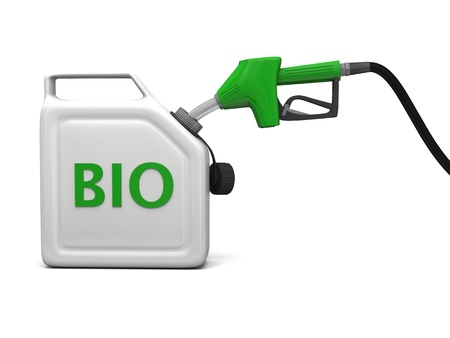 jerry: 3D illustration of filling jerry can with bio fuel isolated on white background. Stock Photo