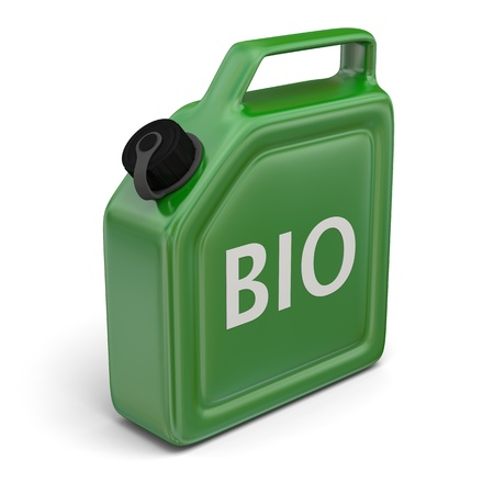 jerry: 3D illustration of green jerry can with bio sign isolated on white background.