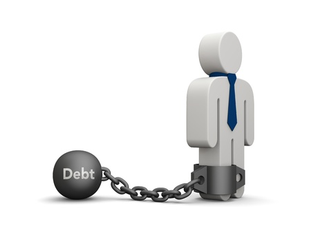 enslave: Concept of debt. Illustration of a person with tie chained to iron ball. Stock Photo