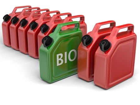 jerry: Green bio fuel jerry can in between red canisters isolated on white background