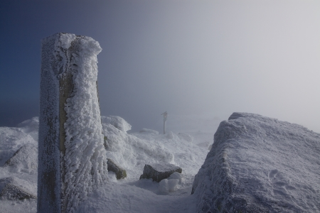 Peak of Dumbier, highest mountain in Low Tatras, Slovakia, in winter photo