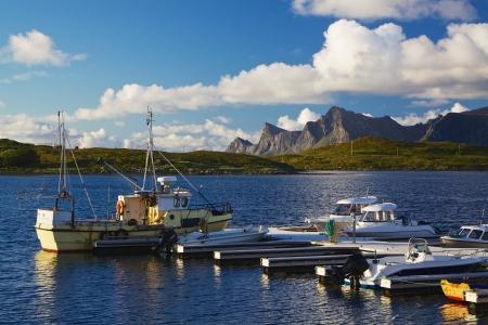 lofoten: Fishing boat on Lofoten islands in Norway during arctic summer