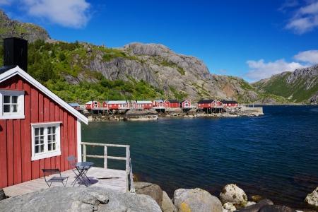 rorbu: Typical red rorbu fishing huts in village of Nusfjord, Lofoten islands, Norway