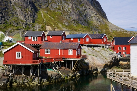 rorbu: Typical red rorbu fishing huts on Lofoten islands in Norway
