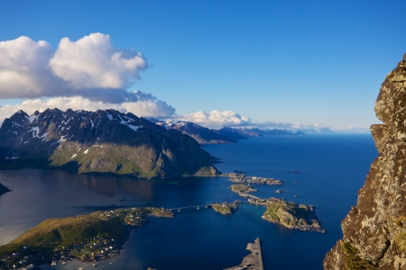 islets: Scenic view of town Reine on Lofoten islands in Norway