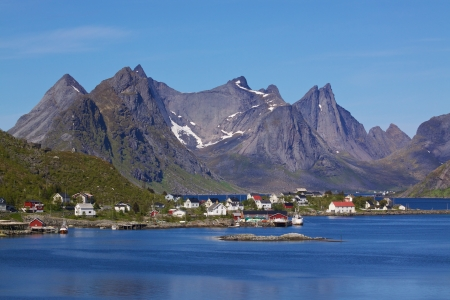 Picturesque town of Reine by the fjord on Lofoten islands in Norway photo