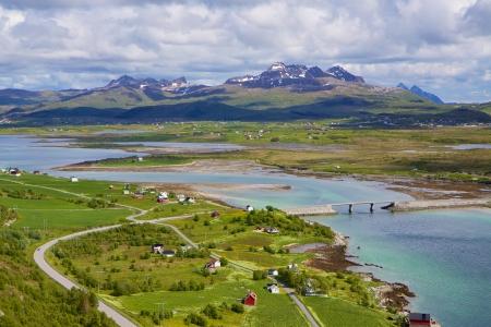 lofoten: Scenic panorama of green Lofoten islands in Norway during summer