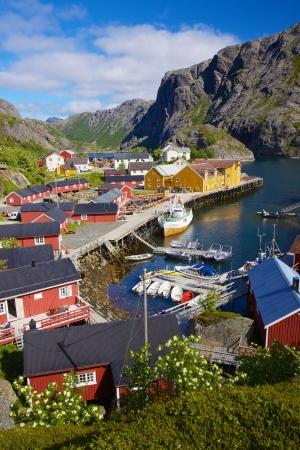 Picturesque village of Nusfjord on Lofoten islands, Norway, popular tourist destination