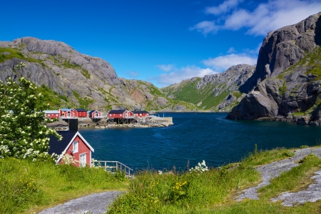 Traditional old fishing village of Nusfjord on Lofoten islands, Norway Stock Photo