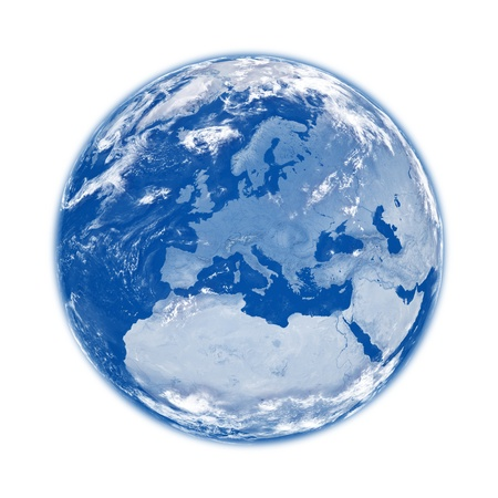furnished: Europe on blue planet Earth isolated on white background. Elements of this image furnished Stock Photo