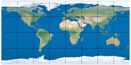 World map made of cubes isolated on white background  photo