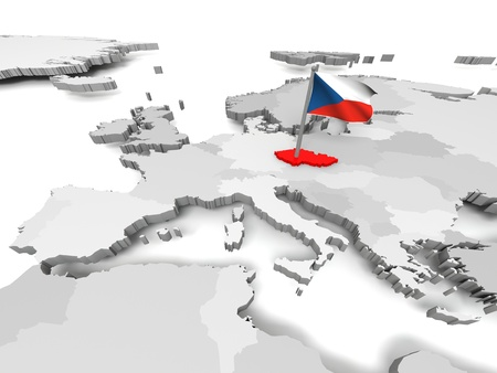 Czech Republic with czech national flag on map of Europe photo