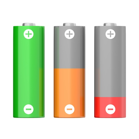 charged: Set of batteries with different charging levels, isolated on white background Stock Photo