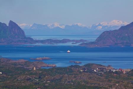 Picturesque norwegian panorama on Lofoten islands near town of Svolvaer photo
