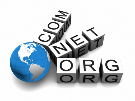 domains: Concept of web domains with globe isolated on white background.