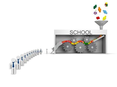 producing: School machine, concept of schools killing creativity producing average worker Stock Photo