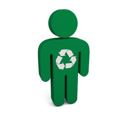 reusing: Concept of recycling. Illustration of green person with recycling sign isolated on white background. Stock Photo