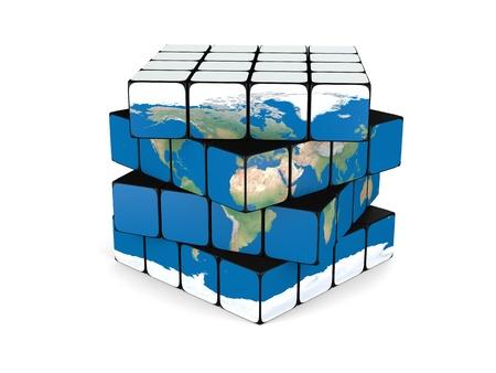 概念の惑星の地球製キューブ、白い背景で隔離のねじれ